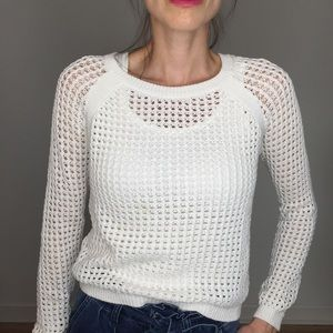 Sanctuary White Mesh Crewneck Sweater